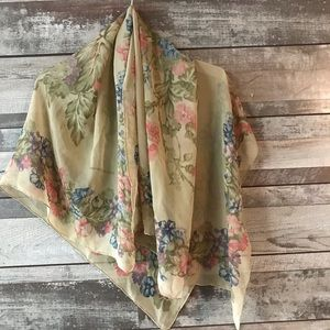 Anne Klein II floral scarf tan pink